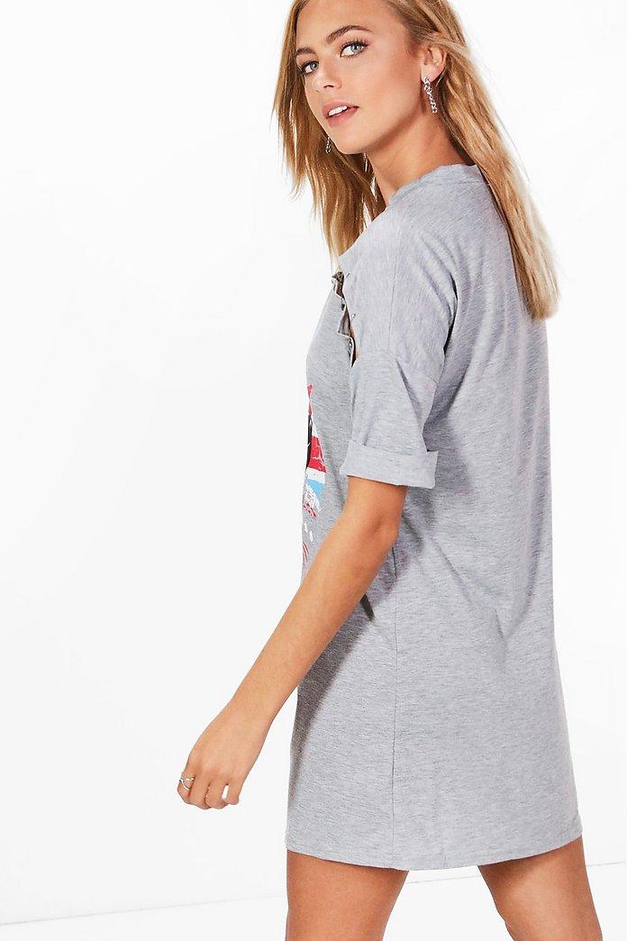 lia robe t shirt ras du cou à slogan et détail épingle | boohoo