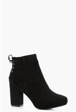 Black Lace Up Back Heel Shoe Boots