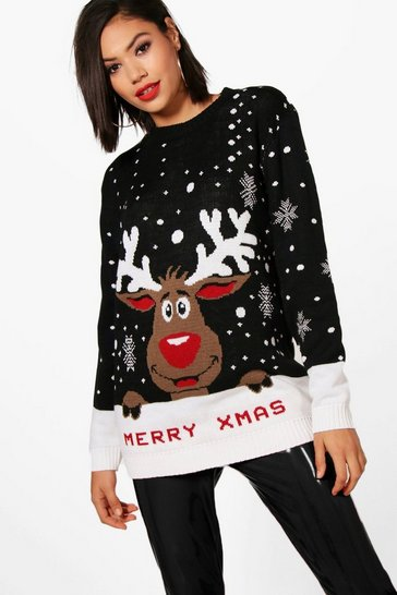 Black Merry Xmas Reindeer Christmas Jumper