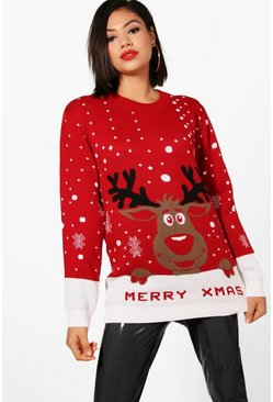 Red Merry Xmas Reindeer Christmas Jumper