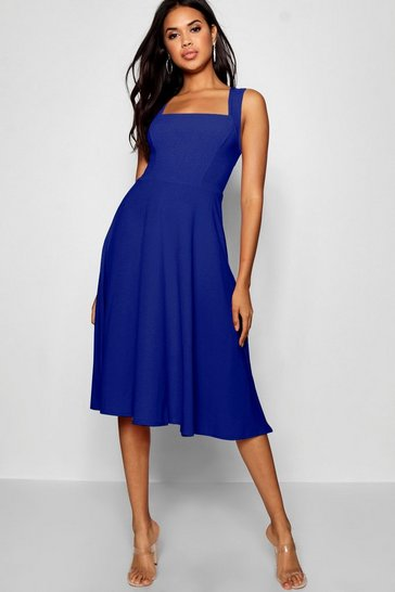 Cobalt blue Square Neck Midi Skater Dress