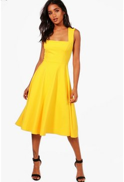 Freesia yellow Square Neck Midi Skater Dress