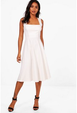 Ivory white Square Neck Midi Skater Dress