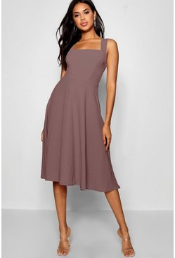 Mauve purple Square Neck Midi Skater Dress