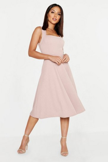 Mink beige Square Neck Midi Skater Dress