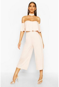 Blush Off Shoulder Ruffle Culotte Choker Jumpsuit
