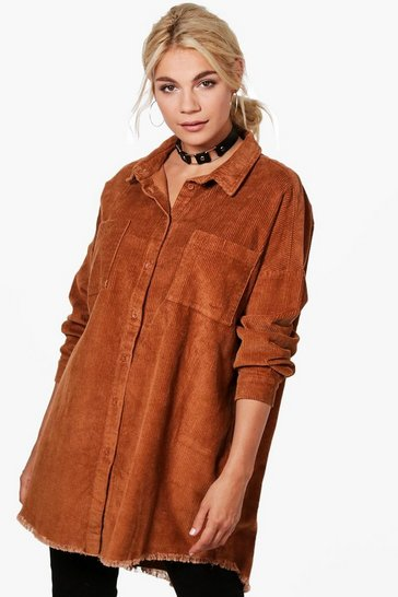 Camel Raw Edge Oversized Cord Shirt