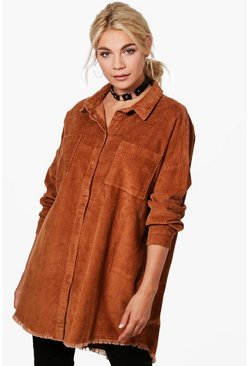 Camel beige Raw Edge Oversized Cord Shirt