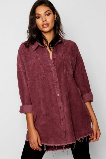 Mauve Raw Edge Oversized Cord Shirt