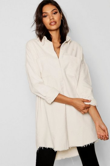 White Raw Edge Oversized Cord Shirt