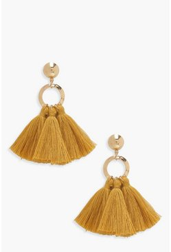 Mustard yellow Circle Tassel Earrings