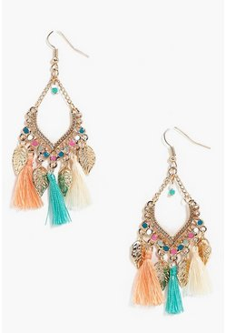 Gold metallic Leaf Charm Tassel Detail Earrings