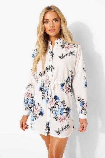 Ivory white Floral Shirt Dress