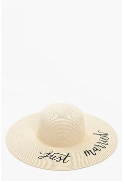 Natural beige Just Married Straw Hat