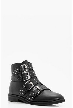 Black Studded Strap Ankle Boots