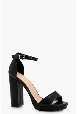Black Wide Fit Platform Block Heels