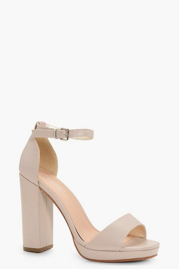 Nude Wide Fit Platform Block Heels