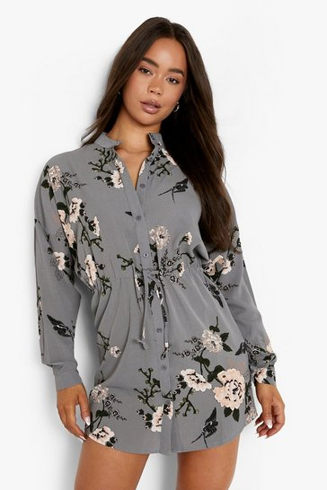 Grey Floral Shirt Dress