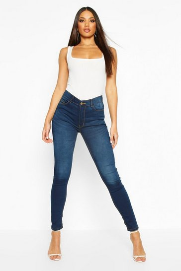 Indigo blue High Rise 5 Pocket Skinny Jeans