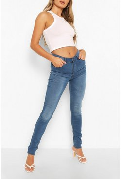 High Rise 5 Pocket Skinny Jeans, Mid blue azzurro