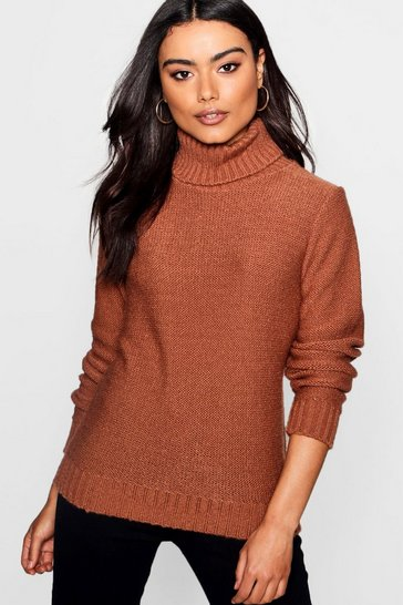 Tobacco brown Soft Knit Roll Neck Jumper