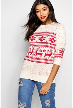 Fairisle Snowflake Reindeer Christmas Jumper, Cream