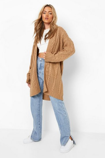 Camel beige Oversized Slouchy Cable Knit Cardigan