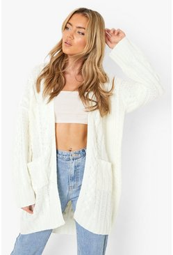 Cream white Oversized Slouchy Cable Knit Cardigan