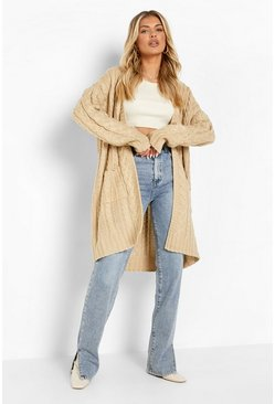 Stone beige Oversized Slouchy Cable Knit Cardigan