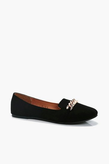Black Chain Detail Slipper Ballets