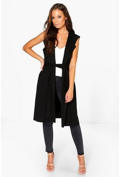 Black Sleeveless Belted Duster