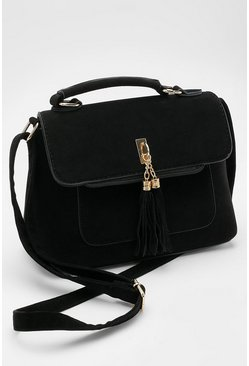 Black Suedette Tassel Cross Body Bag