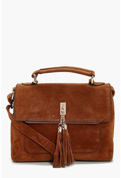 Suedette Tassel Cross Body Bag, Tan