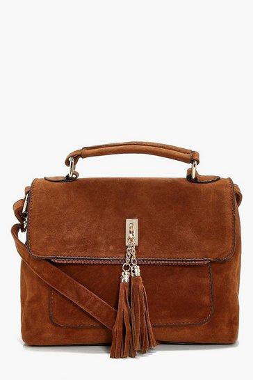 Tan brown Suedette Tassel Cross Body Bag