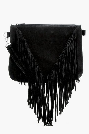 Black Suedette Fringed Cross Body Bag