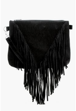 Black Suedette Fringed Cross Body Bag