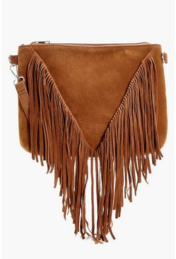 Suedette Fringed Cross Body Bag, Tan