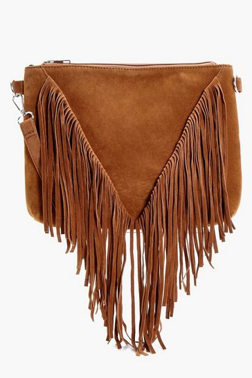 Tan brown Suedette Fringed Cross Body Bag