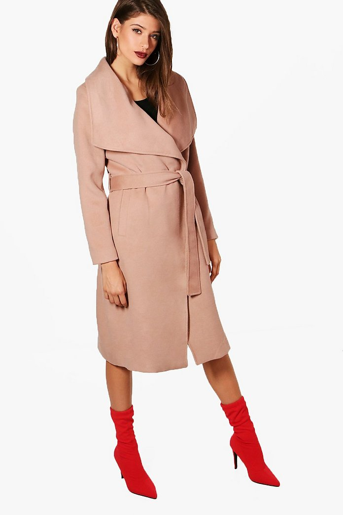 Maxi Belted Waterfall Coat | Boohoo UK