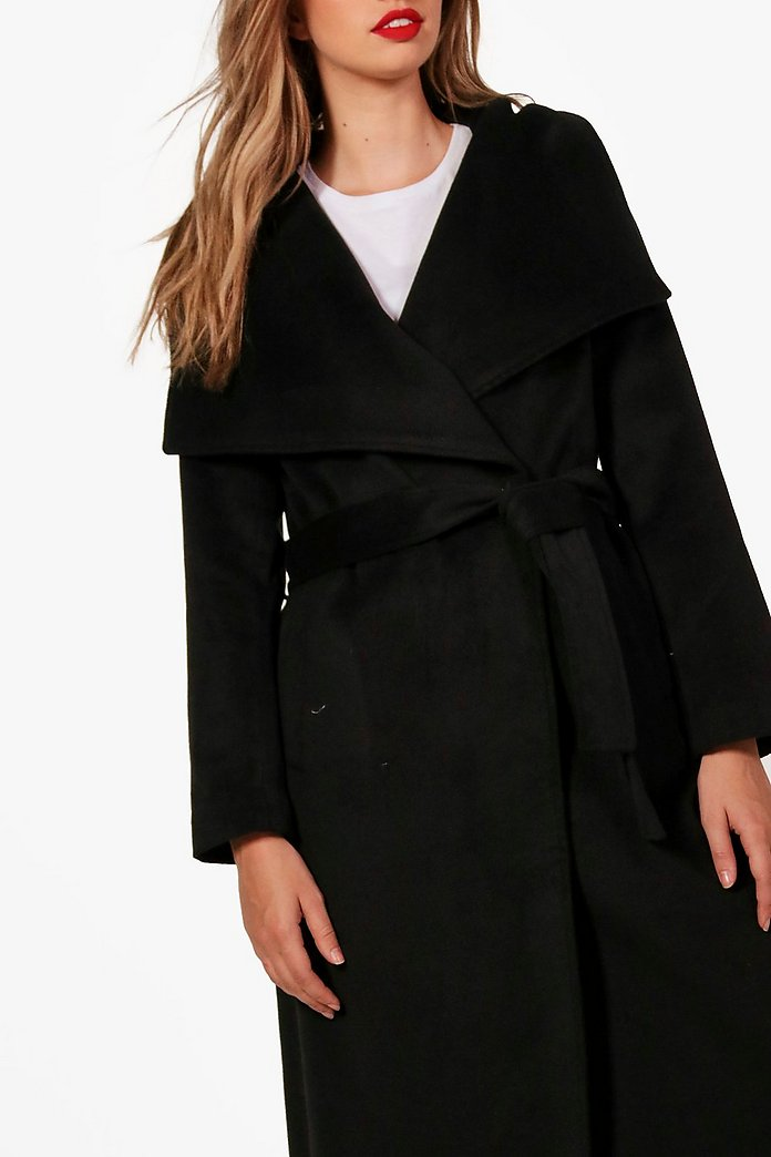 Madeleine Maxi Belted Waterfall Coat | Boohoo UK