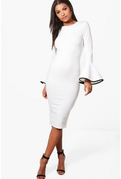 Ivory white Contrast Flared Sleeve Midi Dress