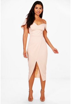 Blush Off Shoulder Wrap Skirt Midi Dress