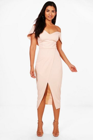 Blush pink Off Shoulder Wrap Skirt Midi Dress