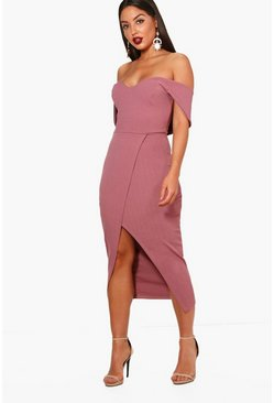 Mauve purple Off Shoulder Wrap Skirt Midi Dress