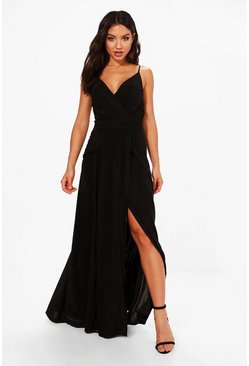 Black Slinky Wrap Ruched Strappy Maxi Bridesmaid Dress