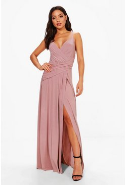 Mauve purple Slinky Wrap Ruched Strappy Maxi Bridesmaid Dress
