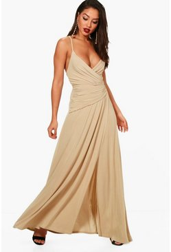 Stone beige Slinky Wrap Ruched Strappy Maxi Bridesmaid Dress