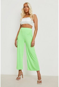 Citrus lime yellow Basic Soft Slinky Wide Leg Culottes
