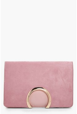Blush pink Metal Circle Suedette & PU Clutch Bag
