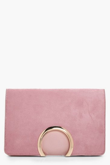 Blush Metal Circle Suedette & PU Clutch Bag